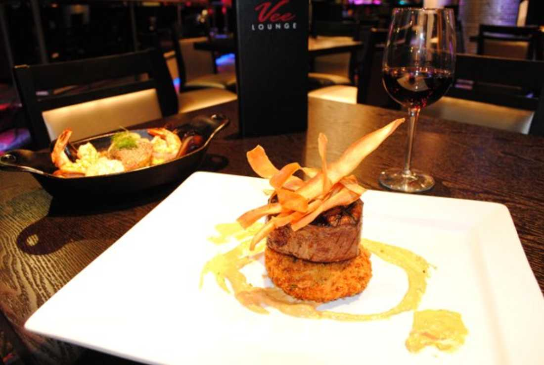 The food at Vee Lounge is actually pretty good for a nightclub.