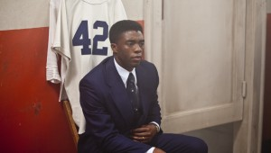 "Chadwick Boseman receives his numbered Brooklyn Dodgers jersey in ""42."""