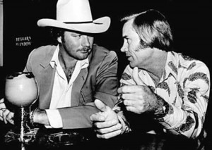 BILLY BOB BARNETT GETS AN EARFUL FROM THE OL' POSSUM HIMSELF, GEORGE JONES. (photo courtesy of Barnett)