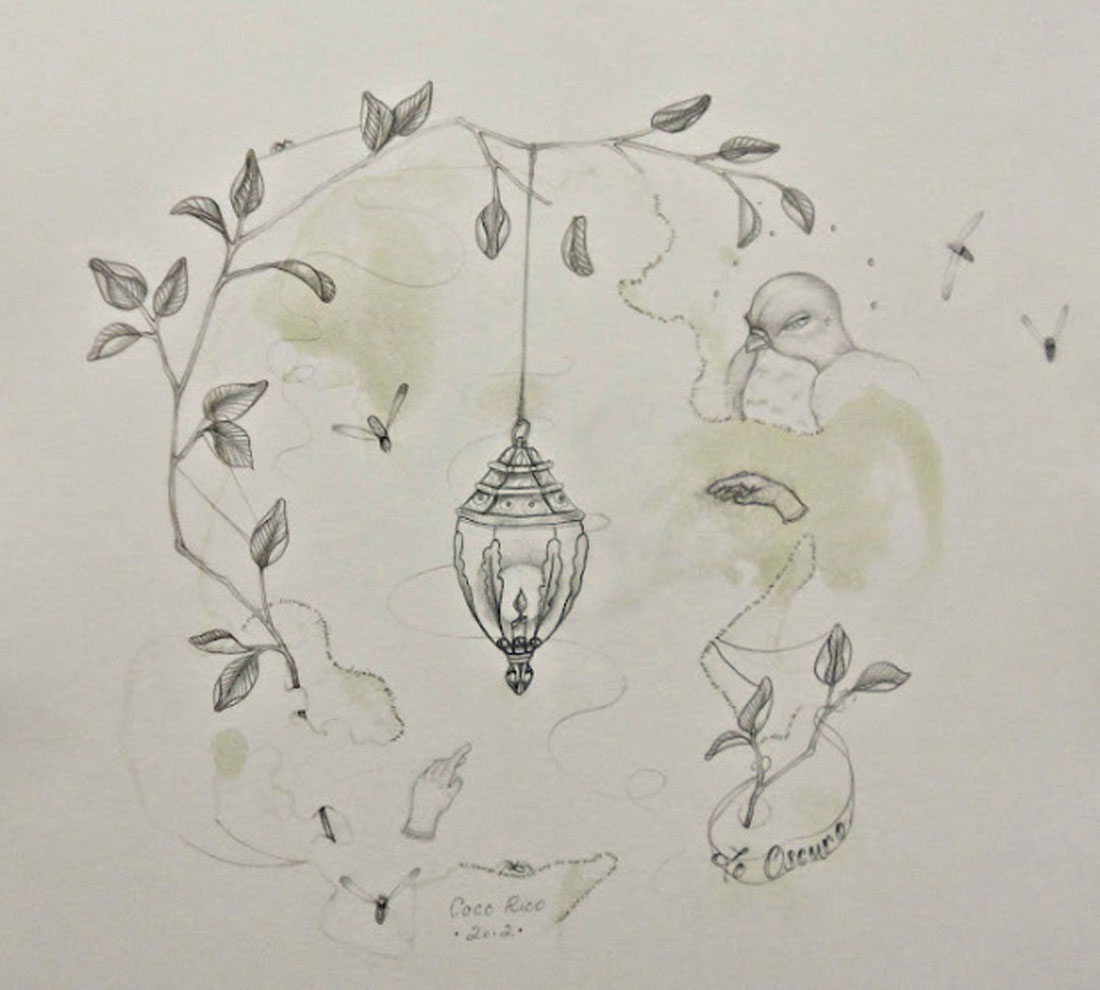 """Coco Rico's drawing """"Lo Oscuro"""" will be on display thru Jun 7 at WoCA Projects."""