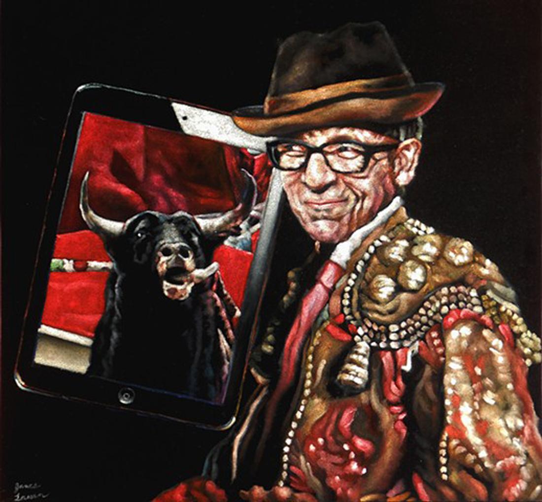 """James Lassen's """"Velvet Elvis Costello"""" is up for auction at VELVEASL."""