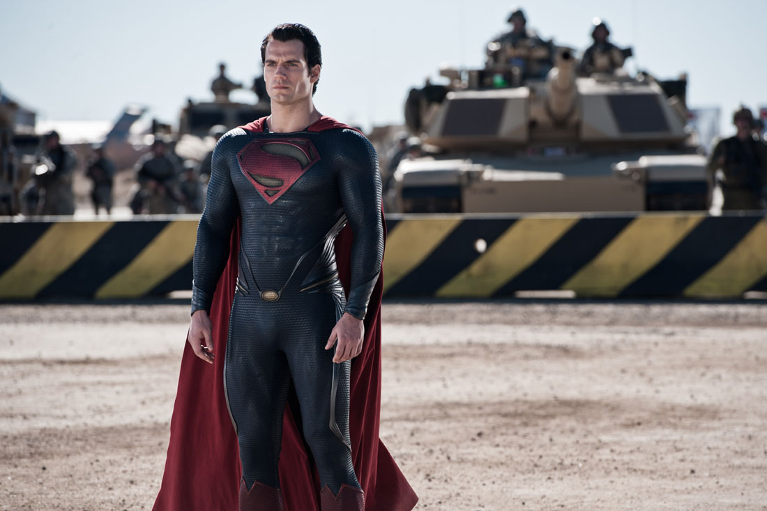 Henry Cavill presents himself to the United States military in Man of Steel.