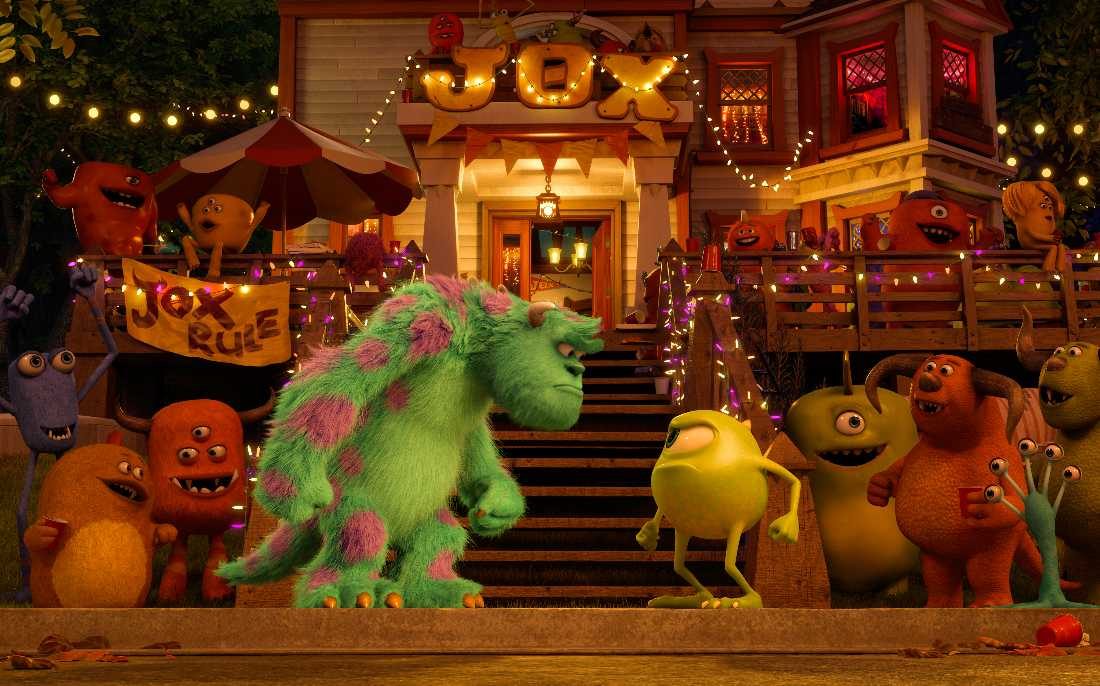 Sulley and Mike face off in front of a frat house (and an appreciative monster audience) in Monsters University.