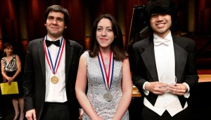 (From left to right) Ukraine's Vadym Kholodenko, Italy's Beatrice Rana, and the United States' Sean Chen were the big winners in the Cliburn.