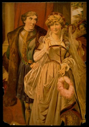 "A 19th-century artist's rendering of Henry Irving and Ellen Terry starring in Shakespeare's ""Much Ado About Nothing."""