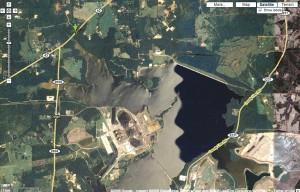 Surface coal waste ponds like this one in East Texas contribute to extensive poisoning of wildlife, researchers wrote. Google Maps
