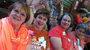 Left to right: Lenna Webb, Fran Donnell, Diane Viviana, and Lynn Johnson turned out to show their support for Davis. Courtesy Diane Viviana