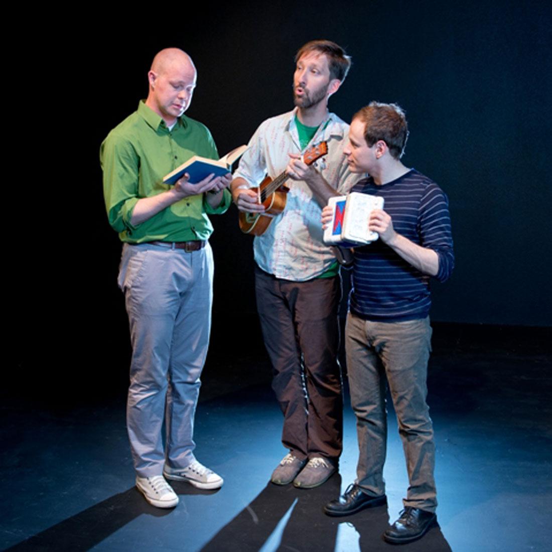 Luke Longacre, Brandon J. Murphy, and Scott Zenreich are an unholy yet hilarious trio in Amphibian's current production.