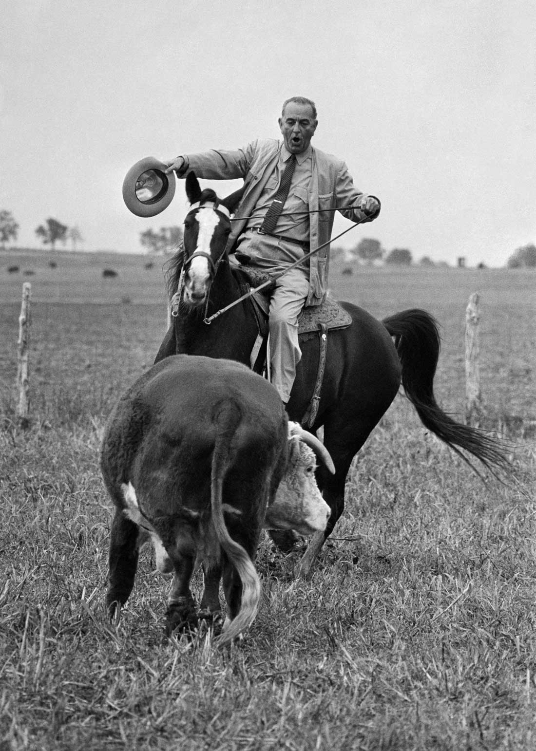 LBJ at home on the range. AP Photo/Bill Hudson