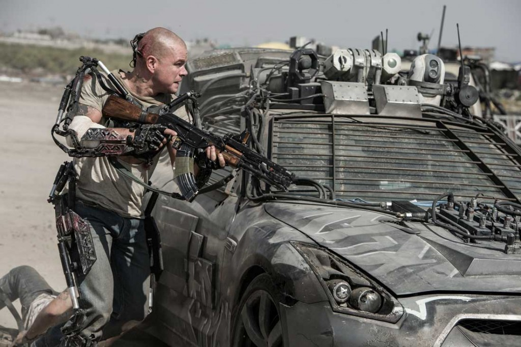 Matt Damon takes cover behind a military vehicle  and his metal    Military Exosuit