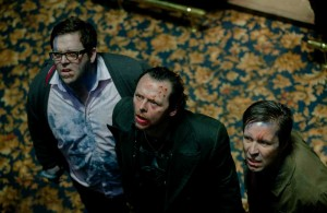 Nick Frost, Simon Pegg, and Paddy Considine look the worse for wear during their pub crawl in The World's End.