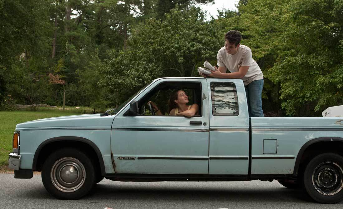 A somewhat sober Miles Teller assists on Shailene Woodley's paper route in The Spectacular Now.
