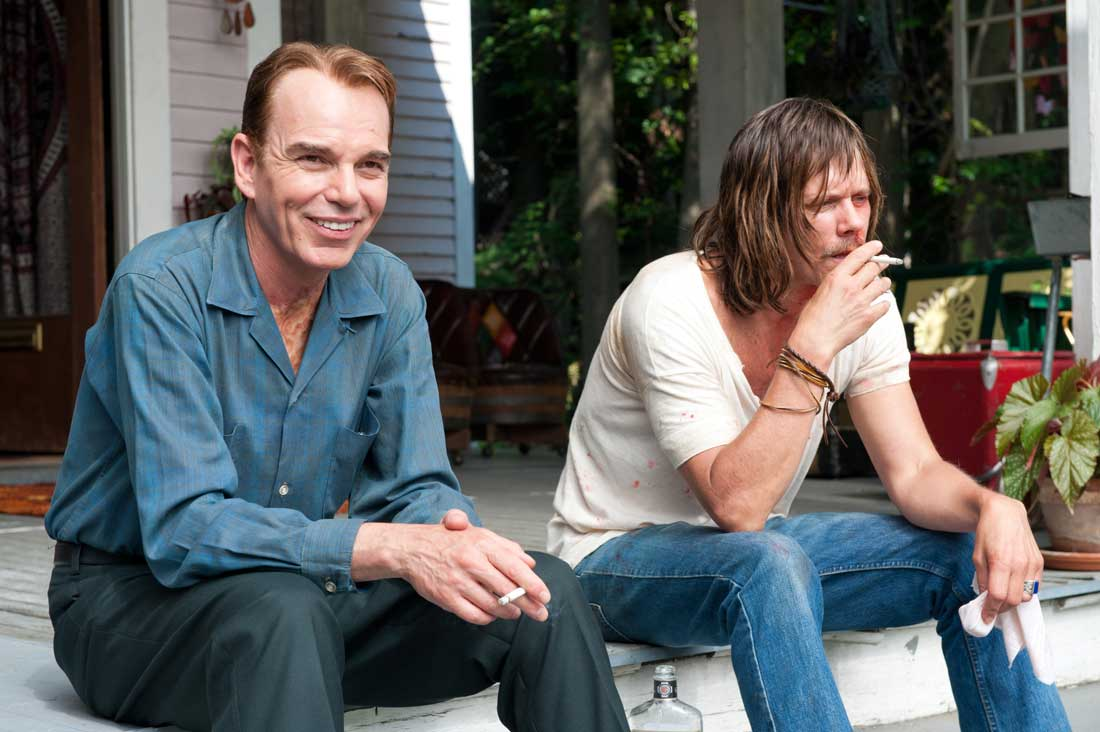 Billy Bob Thornton and Kevin Bacon hang out on the porch in Jayne Mansfield's Car.