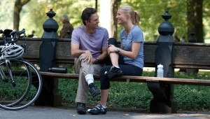 Mark Ruffalo and Gwyneth Paltrow take an exercise break in Central Park in Thanks for Sharing.