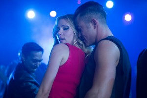 Scarlett Johansson and Joseph Gordon-Levitt rub up against each other on the dance floor in Don Jon.