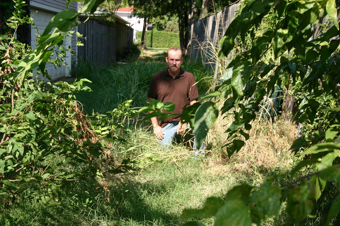 "Malloy, in the jungle-like alley behind his house: ""Is the city going to fine itself?"" Jeff Prince"
