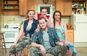 Kristi L. Mills (left), Jerry Downey (top), Duke Anderson, and Taylor Staniforth star in Circle's latest.