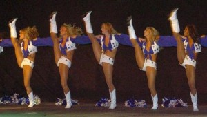 THE COWBOYS CHEERLEADERS ENCOURAGE THEIR TEAM TO PUNT YET AGAIN. (photo courtesy of USAG Humphreys)