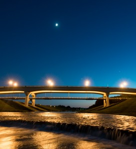 The new bridge over the Clear Fork, just west of Hulen Street, offers art, architecture, and a separate pedestrian/bike level, spanning one of the prettiest stretches of the Trinity.