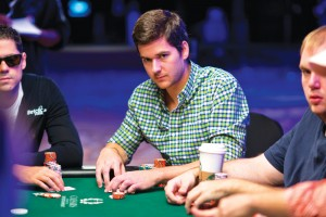 """Benefield, center: """"Poker is incredibly stressful on an emotional level."""" Courtesy WSOP/Joe Giron"""