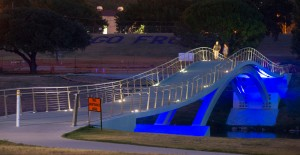 """The Phyllis J. Tilley Memorial Bridge, which opened last year, is the first of its kind in North America, combining a steel arch and stress """"ribbon."""""""