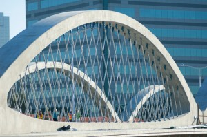 The just-completed Seventh Street Bridge is another world first, for its precast concrete network arch construction — and it came in under budget.