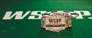 Each winner of the Main Event takes home a diamond-studded bracelet worth about $500,000.  Courtesy WSOP/Joe Giron