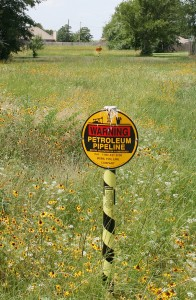 A sign warns against digging within the right-of-way for the Pegasus pipeline that runs under Cedar Creek Reservoir. David Webb/Courtesy The Monitor