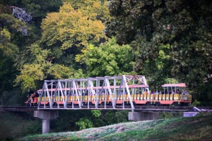 This truss bridge for the Forest Park Miniature Railroad crosses an oxbow of the Trinity.