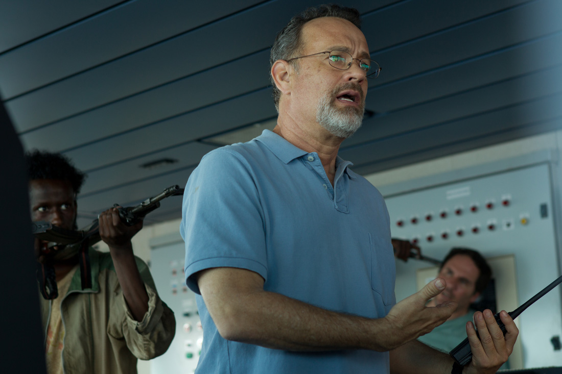 Tom Hanks tries to keep his cool during a hijacking at sea in Captain Phillips.
