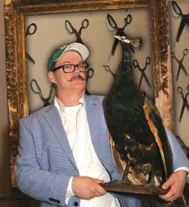 "Sale, holding a stuffed peacock: ""This was an art and storytelling imperative."""