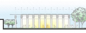 The front of the pavilion resembles a battery of infantrymen by day and a horizontal lantern by night. Renzo Piano Building courtesy Workshop in collaboration with Kendall/Heaton Associates, Inc.