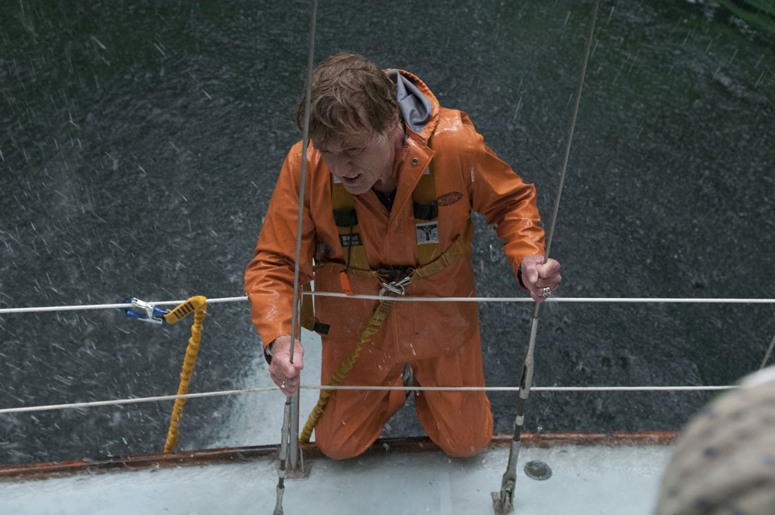 Ain't that a hole in the boat? Robert Redford tries to keep his head above water in All Is Lost.