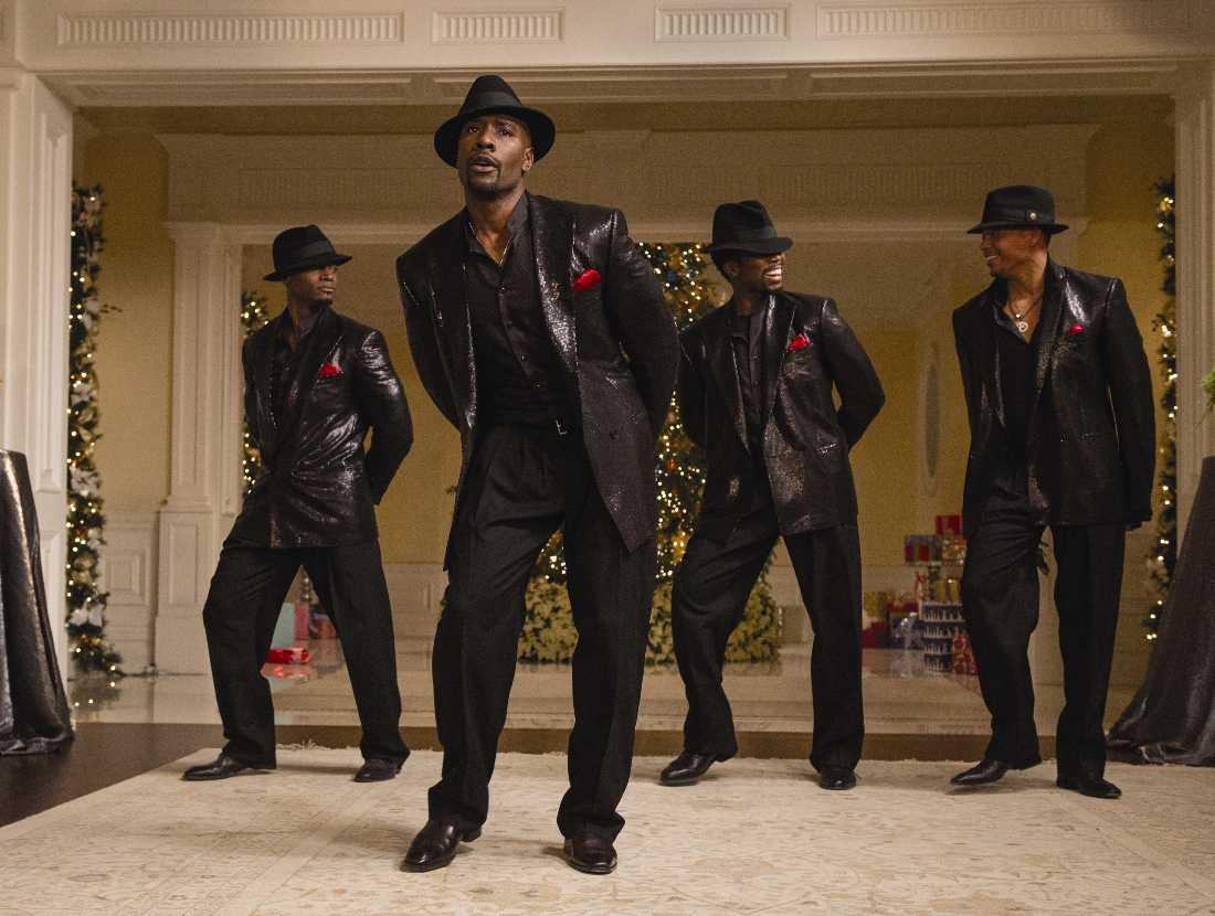 Taye Diggs, Morris Chestnut, Harold Perrineau, and Terrence Howard make like New Edition in The Best Man Holiday.