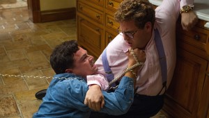 Leonardo DiCaprio and Jonah Hill try to keep it together after consuming lots of drugs in The Wolf of Wall Street.
