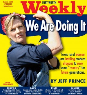 SHARON WILSON AS DEPICTED ON THE COVER OF FORT WORTH WEEKLY IN 2009 (photo by jeff prince)
