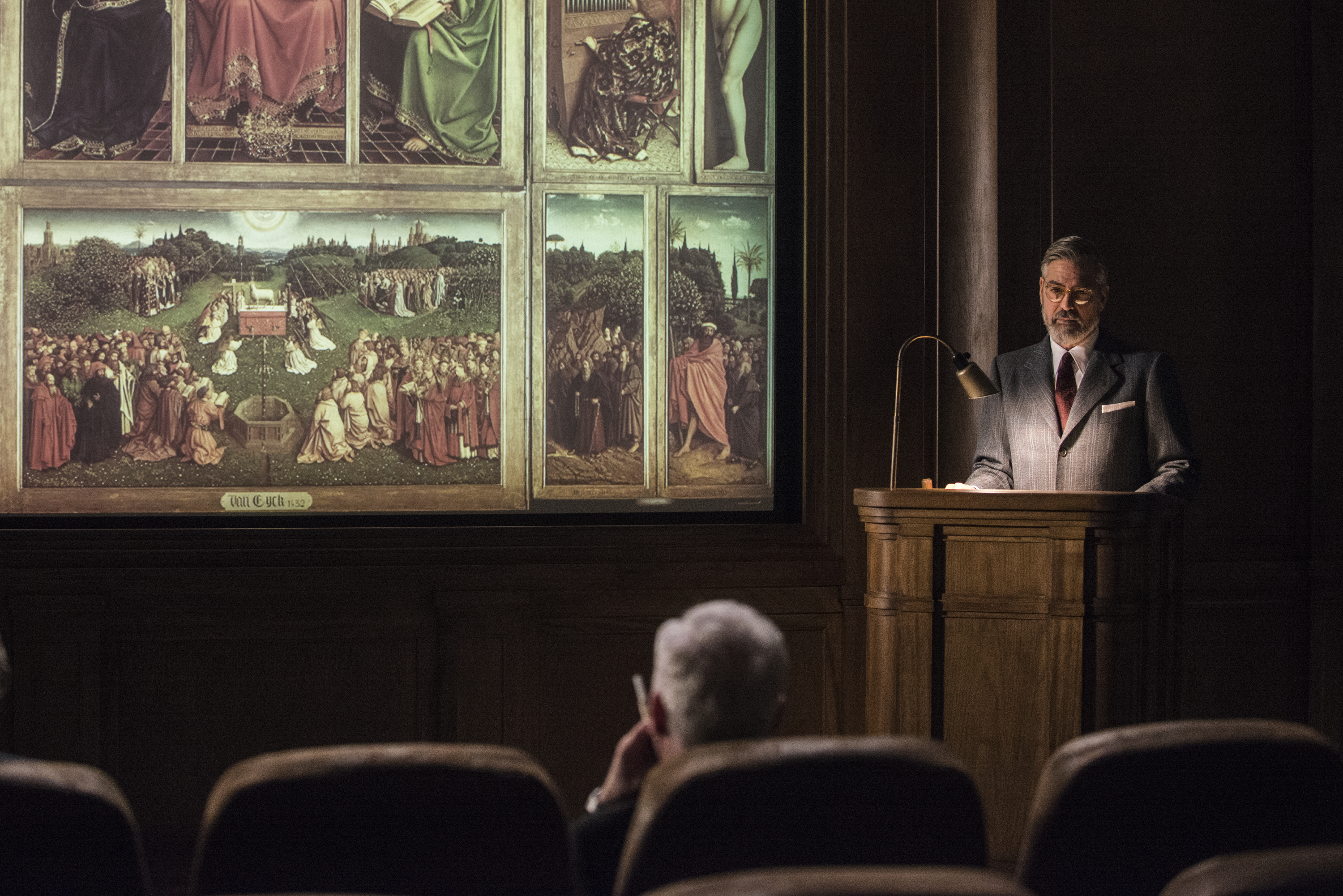 George Clooney shows a slide of the Ghent Altarpiece to the president in The Monuments Men.