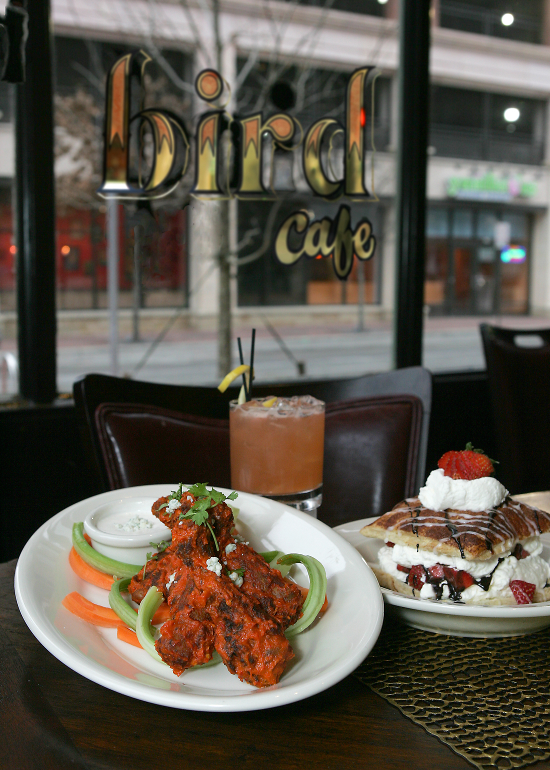 Crispy duck wings and chocolate-strawberry Napoleon await at Bird Café. Lee Chastain