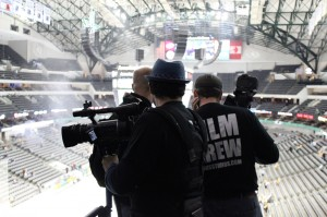 Olson and his crew film a spot to promote sales of suites at the American Airlines Center.  Courtesy Hutton Harris