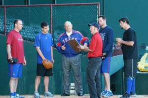 Nolan Ryan (third from left) films a spot with Olson (fourth from left) and Texas Rangers pitchers. Courtesy Brian Gagnon/Texas Rangers