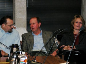 Julie Wilson participated in a Fort Worth City Council pre-council meeting in 2008. Gary Hogan is at left, and XTO Energy's Walter Dueease is in the center. Courtesy FWCANDO.org