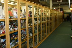 Long rows of display cases sometimes prove enticing to thieves.