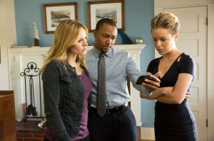 "The gang's back together! Kristen Bell, Percy Daggs III, and Tina Majorino in ""Veronica Mars."""