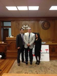 "Palazzolo (center, with attorneys Mark Scott and Victoria Neave): ""I'm just glad I'm not crazy."" Courtesy Joe Palazzolo"