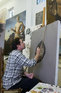 "Grant, at work in his studio: ""I will never give up the pursuit of art."" Brian Hutson"