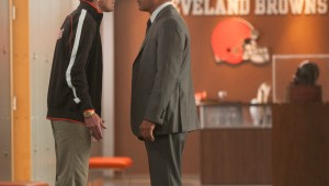 Denis Leary and Kevin Costner have a tense discussion in the Cleveland Browns' front office on Draft Day.