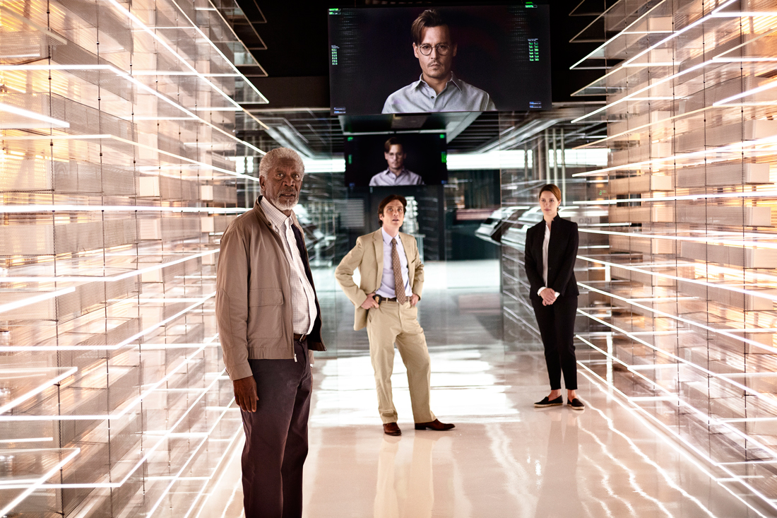 Johnny Depp (on monitors) welcomes Morgan Freeman, Cillian Murphy, and Rebecca Hall to his afterlife in Transcendence.