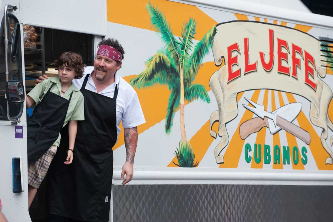 Emjay Anthony and Jon Favreau look for customers for their new food truck in Chef.