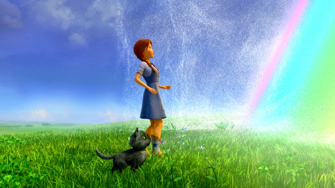 Dorothy and Toto eye the rainbow that will take them back in Legends of Oz: Dorothy's Return.