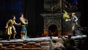 Christopher Burchett, a Scottish bagpiper, and Chad Johnson have a tense first meeting in no- man's-land in Fort Worth Opera's Silent Night.